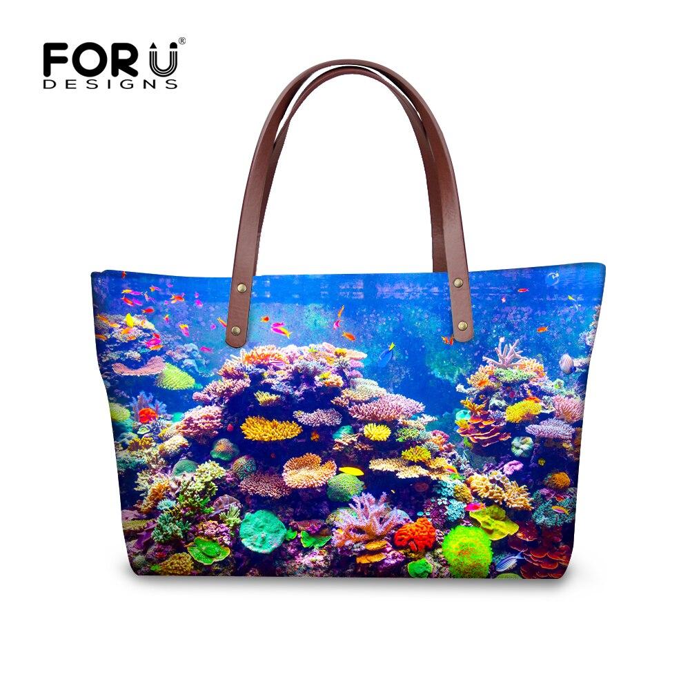 d1e70dc0d 2016 mujeres mano Bolsas grande fresco underwater world pez imprimir casual  hombro Bolsas señoras diseñador mano Bolsas bolsas feminina