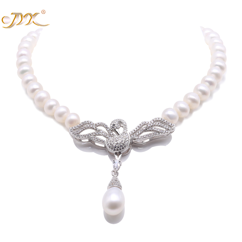JYX Charming 7-7.5mm White Freshwater Pearl Pendant Necklace Swan-style Party Wedding Mother GiftsJYX Charming 7-7.5mm White Freshwater Pearl Pendant Necklace Swan-style Party Wedding Mother Gifts