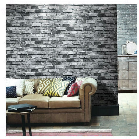 Pvc brick stone wall paper modern chinese style vintage tv sofa background wallpaper 3d grey red rolo papel de parede moderno wa in wallpapers from home