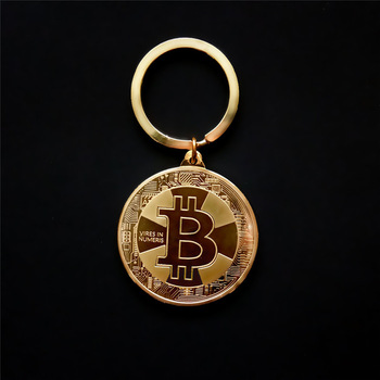 Hot Sell New Arrival Gold Silver Color Alloy Bitcoin keychain For Women Man Car Bag keyring Jewelry Gift