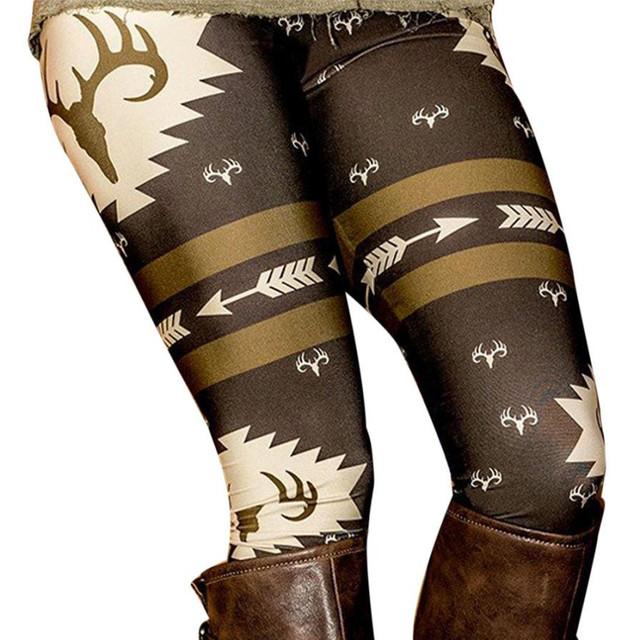 Christmas Deer Printed Stretchy Pants Leggings