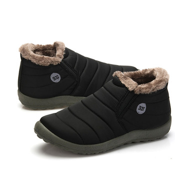 FONIRRA Men Snow Boots Solid Color Warmi...