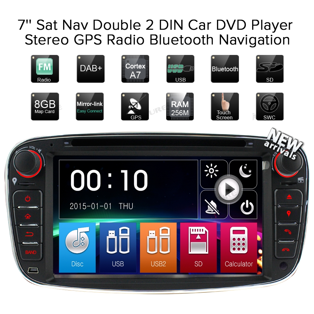 Lecteur Radio auto a-sure 2 Din Navigation GPS pour Ford Focus Galaxy s-max c-max Mondeo Kuga RDS SWC Bluetooth CD DVD USB - 2