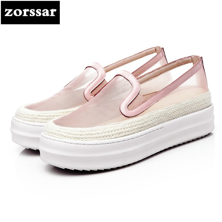 {Zorssar} summer Breathable womens shoes casual flat shoes high quality Women sneakers platform Casual Flats Loafers Big Size 43 hzxinlive 2018 flat shoes women breathable flats shoes for women ladies casual platform female fashion summer sneakers footwear