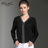 FGLAC Women Shirts New 2018 Spring Long Sleeved V Neck Chiffon Blouse Elegant Slim Solid Color
