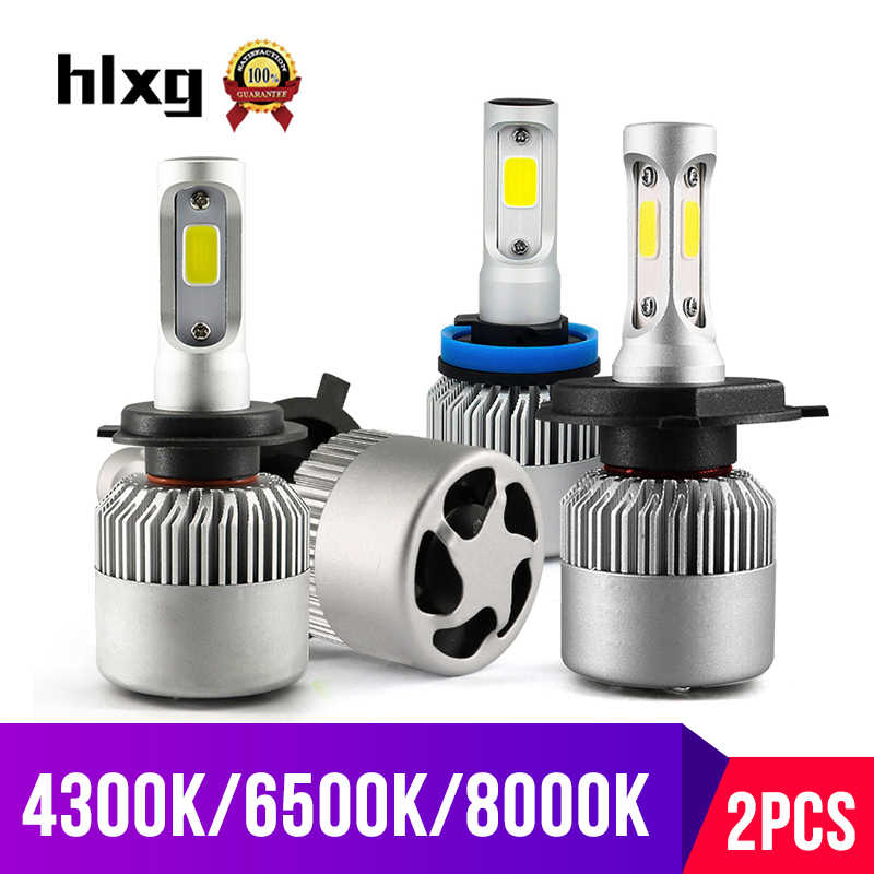 hlxg 2X 3000K H4 LED H7 H11 H8 HB4 H1 H3 HB3 Auto S2 Car Headlight Bulbs 72W 8000LM Car Styling 6500K 4300K 8000K led automotivo
