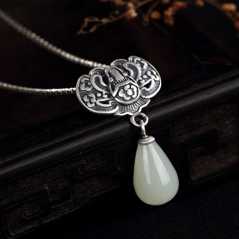 S925 чистого серебра природного Хотан нефрита белого нефрита мозаика цветок сливы фу спереди Леди ключицы кулон оптовая продажа