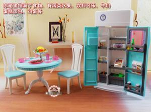 Image 3 - 送料無料女の子の誕生日プレゼントプレイセットのおもちゃ人形ダイニングエリア冷蔵庫プレイセット人形バービー人形用の家具