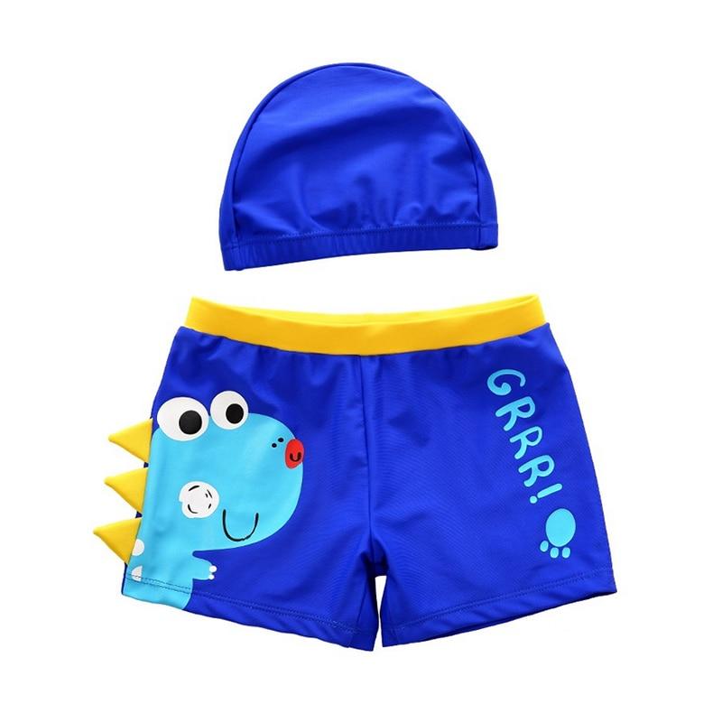 Cartoon Dinosaur Bathing Suit  Children Swim Shorts Kids Beach Swimwear Baby Boy Swimming Trunks Pool Shorts With Swimming Cap