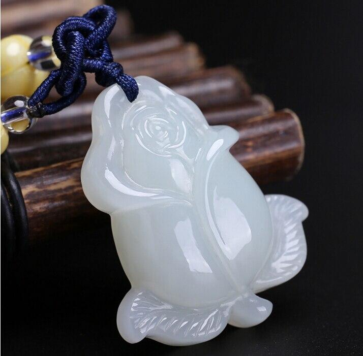 100% naturel Hetian blanc sculpté Rose fleur pendentif