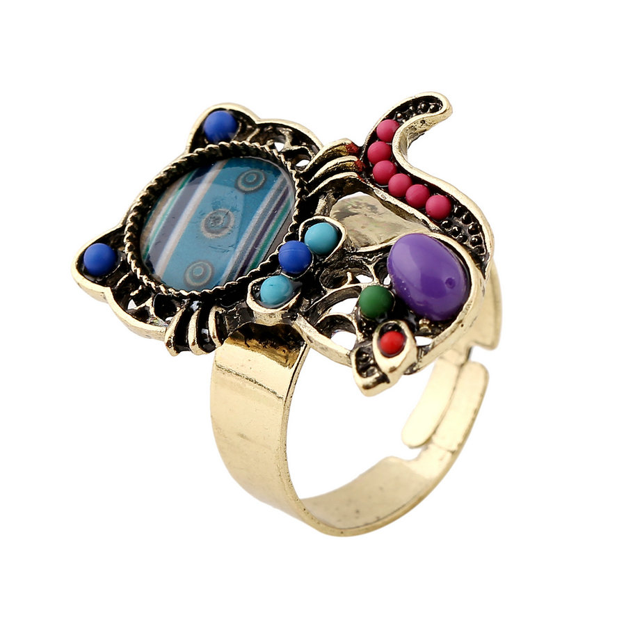 2019 Mode 2017 Fashion Vintage Ethnic Jewelry Lovely Multicolor Resin Beads Cat Animal Adjustable Rings Anel For Women