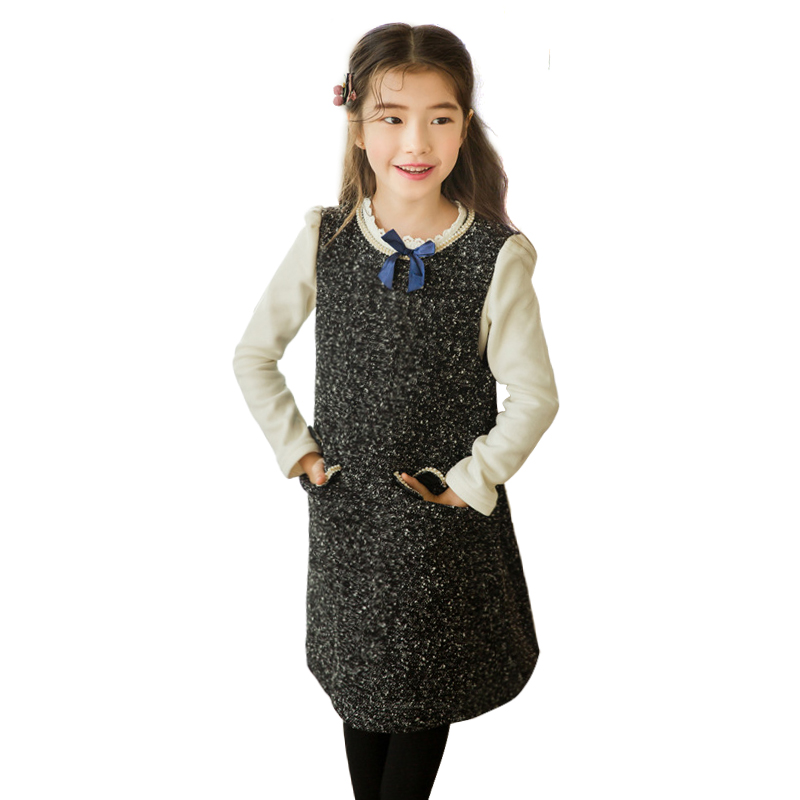 winter thick warm sleeveless shine black frocks for girls age 4 14 yrs teenage girls elegant princess costume simple pearl dress