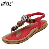Summer Women Sandals Simple Comfortable Bohemia Beach Sandals Women Elastic Band Shoes 4 Color Flat Flip