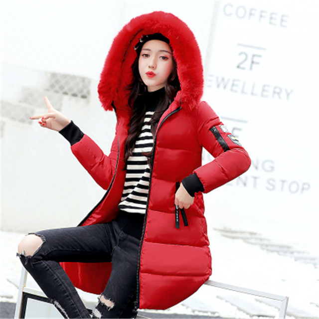 New 2018 Winter Jacket Women Cotton Coat Fur Collar Hood Parka Female Long Jackets Thick Warm Outerwear chaqueta mujer ST157 2
