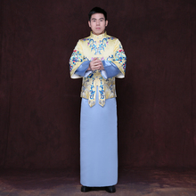 Chinese Traditional Wedding Bride gown robe Suzhou embroidery men clothing Groom wedding Outfit Ethnic clothes Red Beige Blue