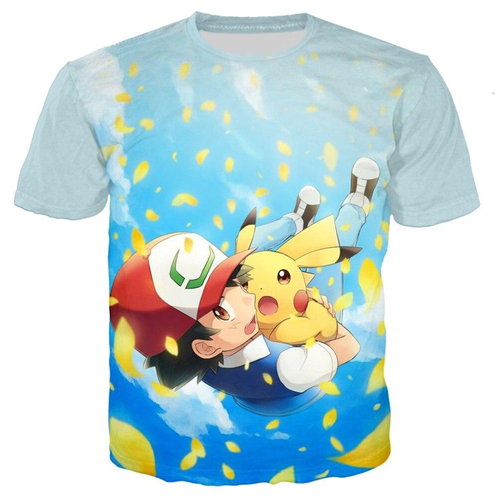 Anime Pokemon 3d Print T-Shirt For Baby Kids T Shirts Boy Girl Fashion Summer Casual Tees Cartoon Pikachu Cute Dinosaur Tops