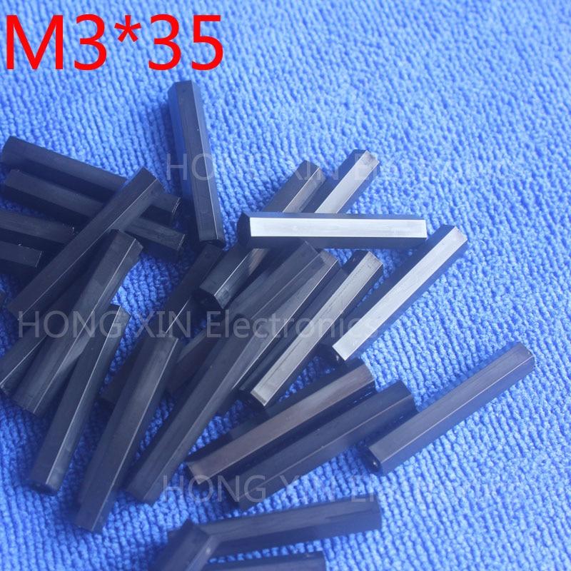 M3 * 35 35mm 1 pcs preto nylon Preto Nylon Hex Masculino-Feminino Standoff Spacer Rosca Espaçador Hexagonal Standoff Spacer nova marca