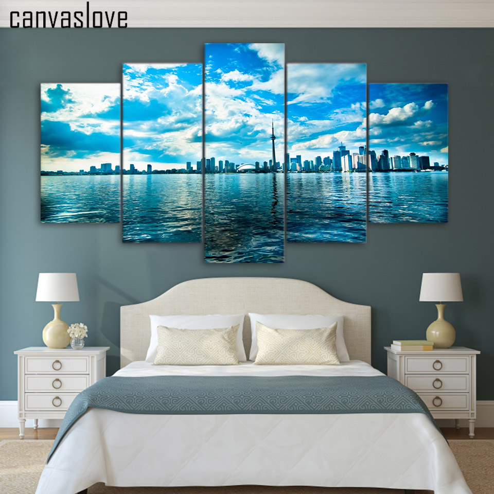 Canvas painting printed 5 pieces toronto lake blue sky for Room decor art