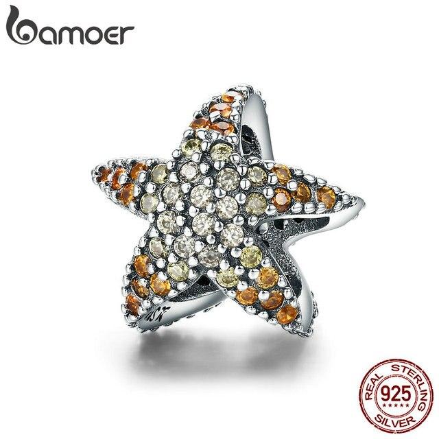 BAMOER Authentic 925 Sterling Silver Ocean Star Starfish Fascino Dei Branelli misura il Braccialetto di Fascino Gioielli In Argento Multa SCC586 Originale