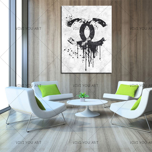 Image 2 - Christmas Gifts Handmade high quality thick knife abstract oil painting Black And White Channel abstract on Canvas Painting