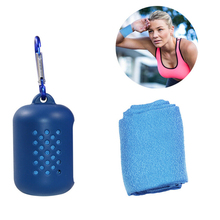 Portable Travel Towel Quick Dry Outdoor Silicone Case Foldable Mini Compression Towel Running Yoga Sports Feeling Cool Ice Towel