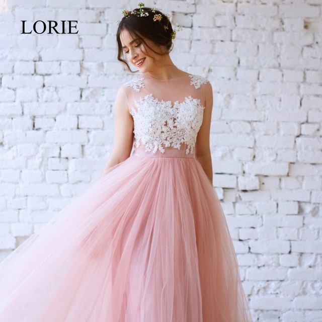 Cheap Pink Wedding Dress Beach 2018 Vintage Lace Top Sexy Tulle Boho Long Bridal Dresses See Through Lace Appliques Robe Mariage