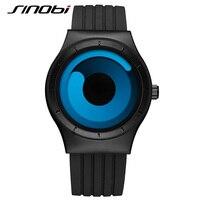 SINOBI Brand Sport Watches For Men Black Silicone Strap Men Watches 2016 Blue Fashion Rotate Quartz