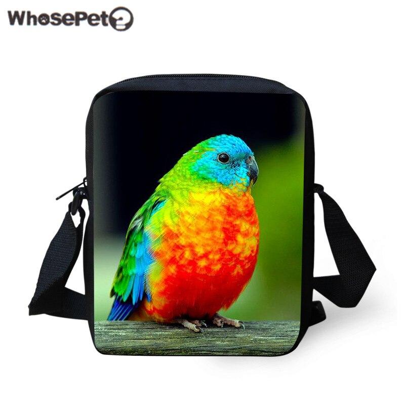 WHOSEPET Desinger Women Messenger Bags Lovely Parrot Printing Shoulder Bag Casual Bag Handbag For Kids Fashion Mini Mochila New