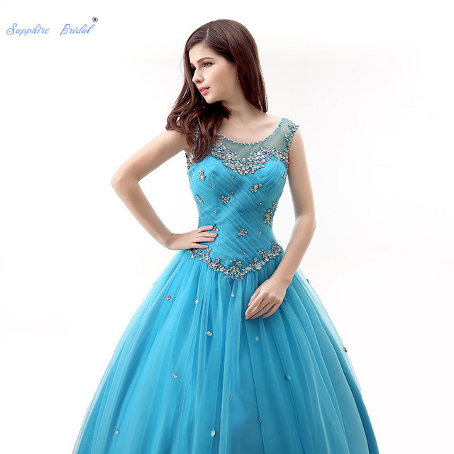 f9d79398994 Sapphire Bridal Turquoise Pleat Long Party Gowns Vestido De 15 Anos De  Sparkly Beading Ball Gown Vest Illusion Quinceanera Dress