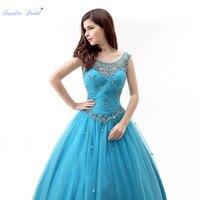 Sapphire Bridal Turquoise Pleat Long Party Gowns Vestido De 15 Anos De Sparkly Beading Ball Gown Vest Illusion Quinceanera Dress