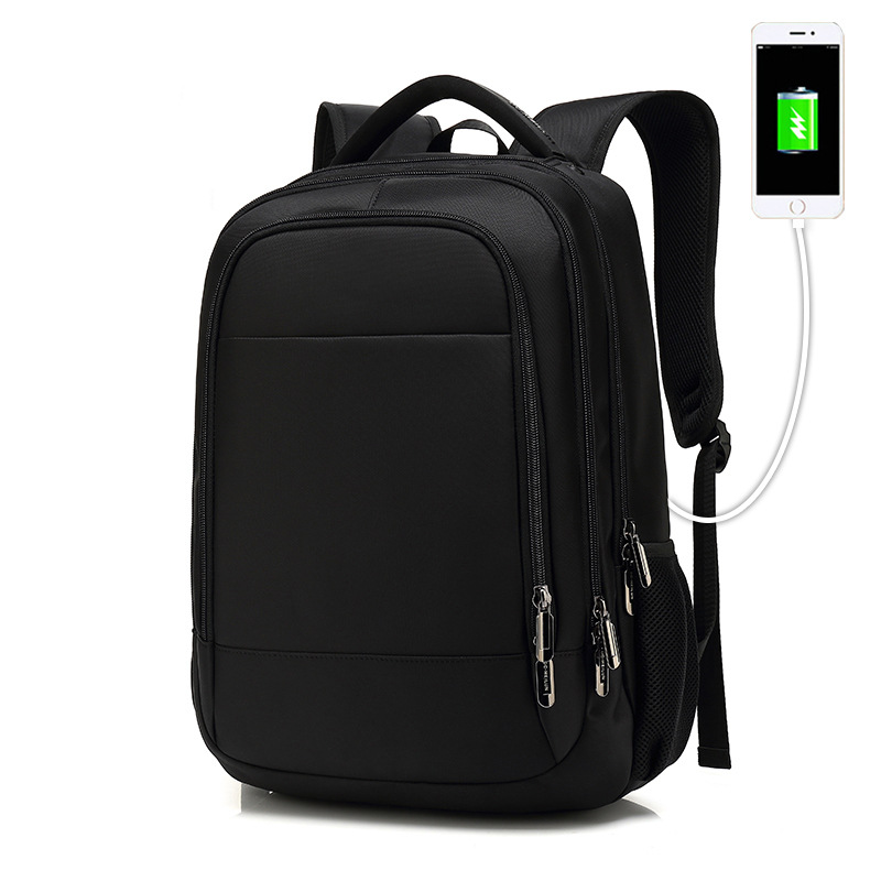 Multifonction ordinateur portable noir sac à dos hommes USB charge étanche sac de voyage d'affaires garçons sacs d'école