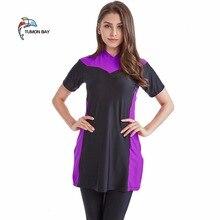 New 2018 summer stitching style muslim swimwear short sleeve women islamic swimsuit islamic clothing