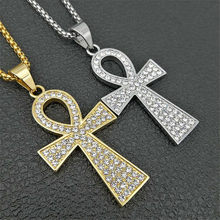 Hip Hop Egyptian Big Ankh Cross Pendant Necklace Stainless Steel/Gold Color Iced Out Bling Full Rhinestone Egypt Jewelry(China)