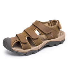 38-46 Summer Men Sandals Plus Size Genuine Leather Sandals Men Large Size Brown Khaki Green