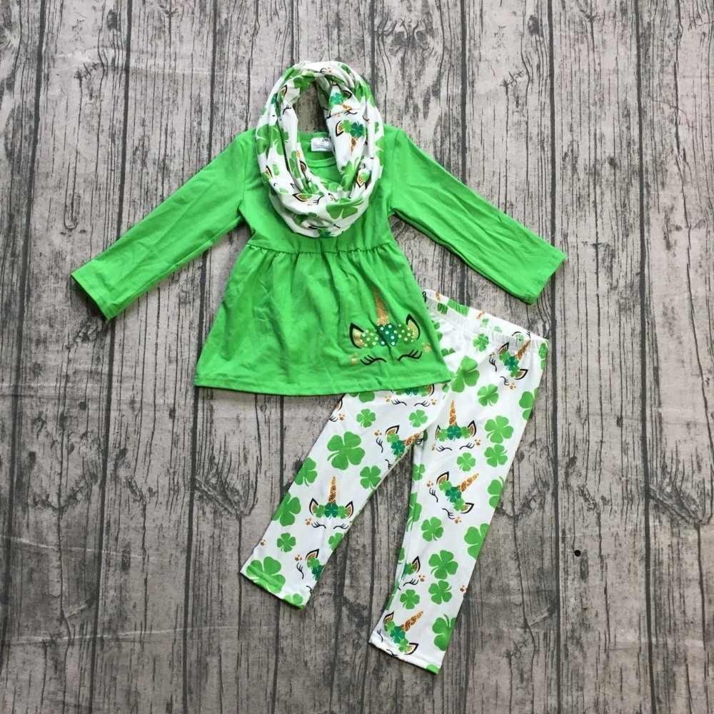 new St.Patrick day girls baby kids clothes green pant top cotton unicorn  lemon Shamrocks 691a32b6370b