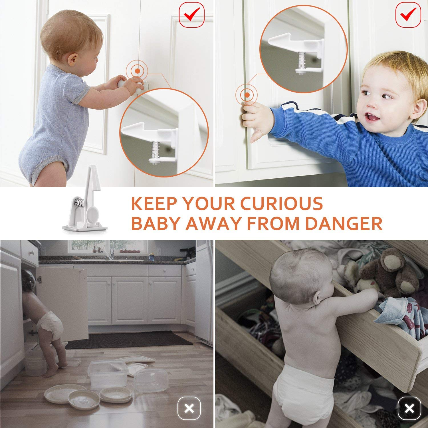TUSUNNY Baby Security Drawer Lock Cabinet Child Protection Kids Safety Invisible