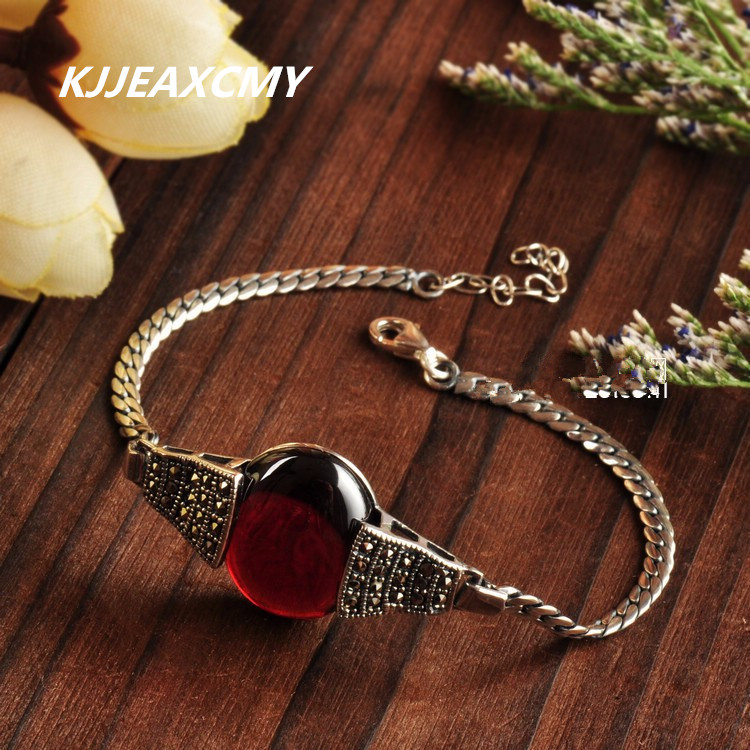KJJEAXCMY 925 sterling silver bracelets personalized retro Thai silver inlay garnet agate jewelry Miss Bai Maoyan shipping s990 sterling silver fashion jewelry personalized men s retro thai silver spike mosaic agate turquoise pendant