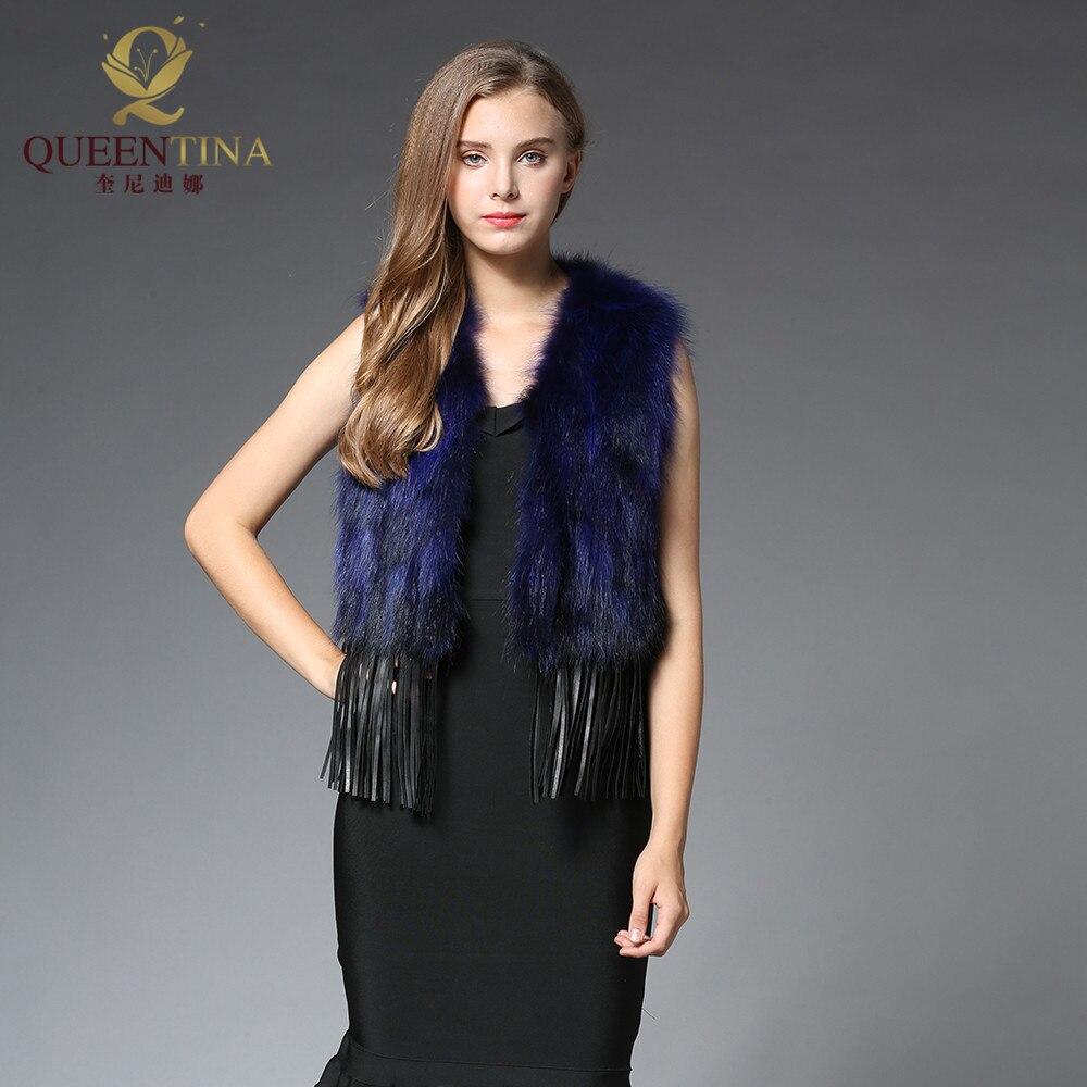Naturelle Veste 2018 Raton Gland noir vert Gros Mode Nouvelle Gilet bleu Marron De gris Réel Manteaux Femmes Véritable pourpre rouge Fourrure Laveur qr8Hz0x8UW