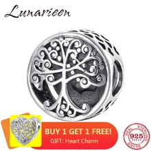 925 Sterling Silver Big tree family is the place where love grows DIY beads Fit Original Pandora Charm Bracelet Jewelry making cheap LUNARIEEN 1 9g NONE Round Shape PLA0094 Fine