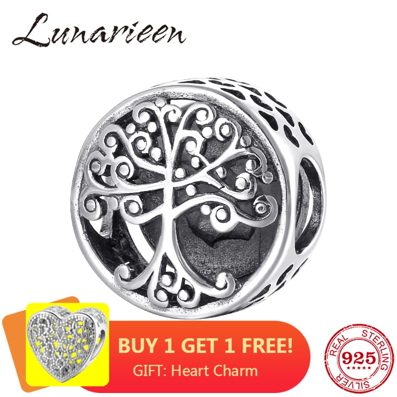 925 Sterling Silver Big tree family is the place where love grows DIY beads Fit Original Pandora Charm Bracelet Jewelry making(China)
