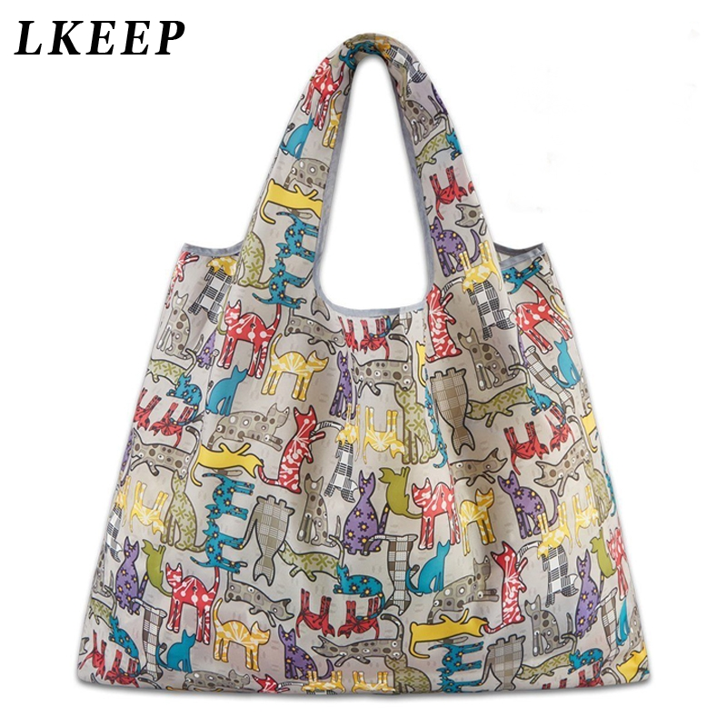 Foldable Handy Shopping Bag Reusable Cartoon Animal Tote Pouch Recycle Storage Handbags Home Storage Organization Bag Portable