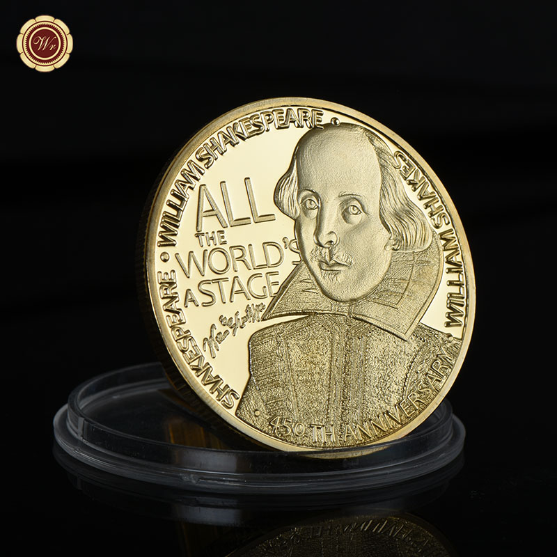 WR Home Decoration UK Shakespeare Metal Coin Wholesale Gold Souvenir Coin For Business Gift