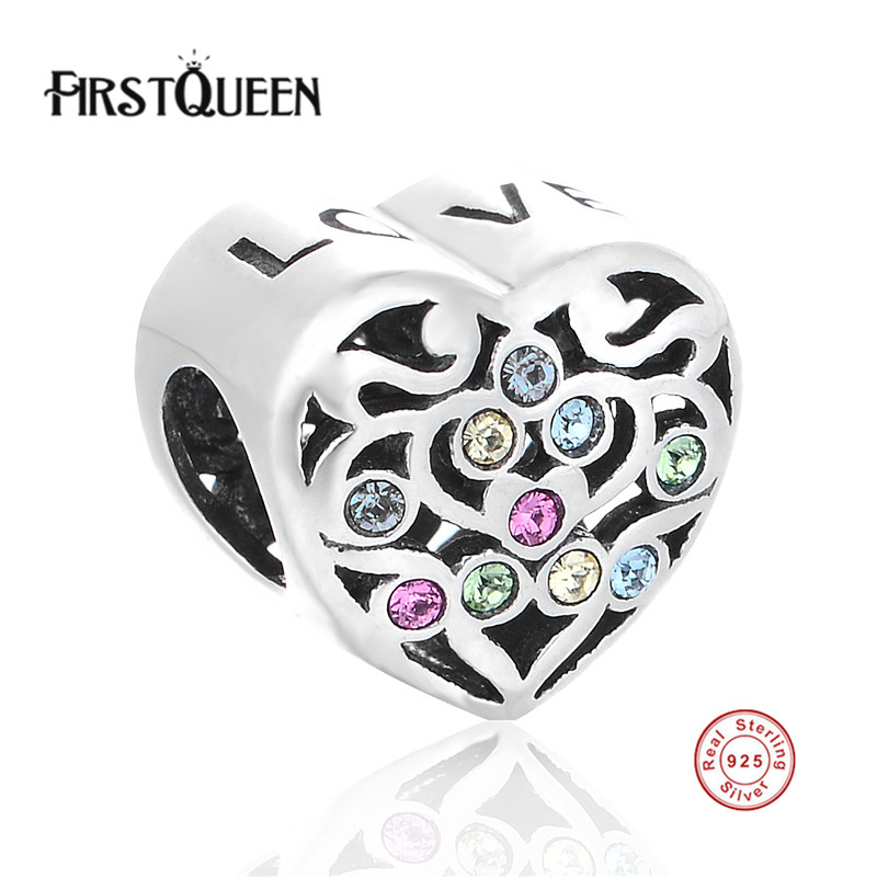 Fine Jewelry Firstqueen Original 925 Sterling Silver Love Heart Charms Beads With Crystal Fit European Bracelets & Bangles Diy Accessories A Great Variety Of Goods