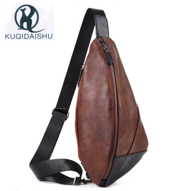 New Style Design Hobos Men Bag Chest Pack Casual Mens PU Leather Sling Bags  Small Shoulder Bag Multifunction Messenger Bags c0d8bff7500bf