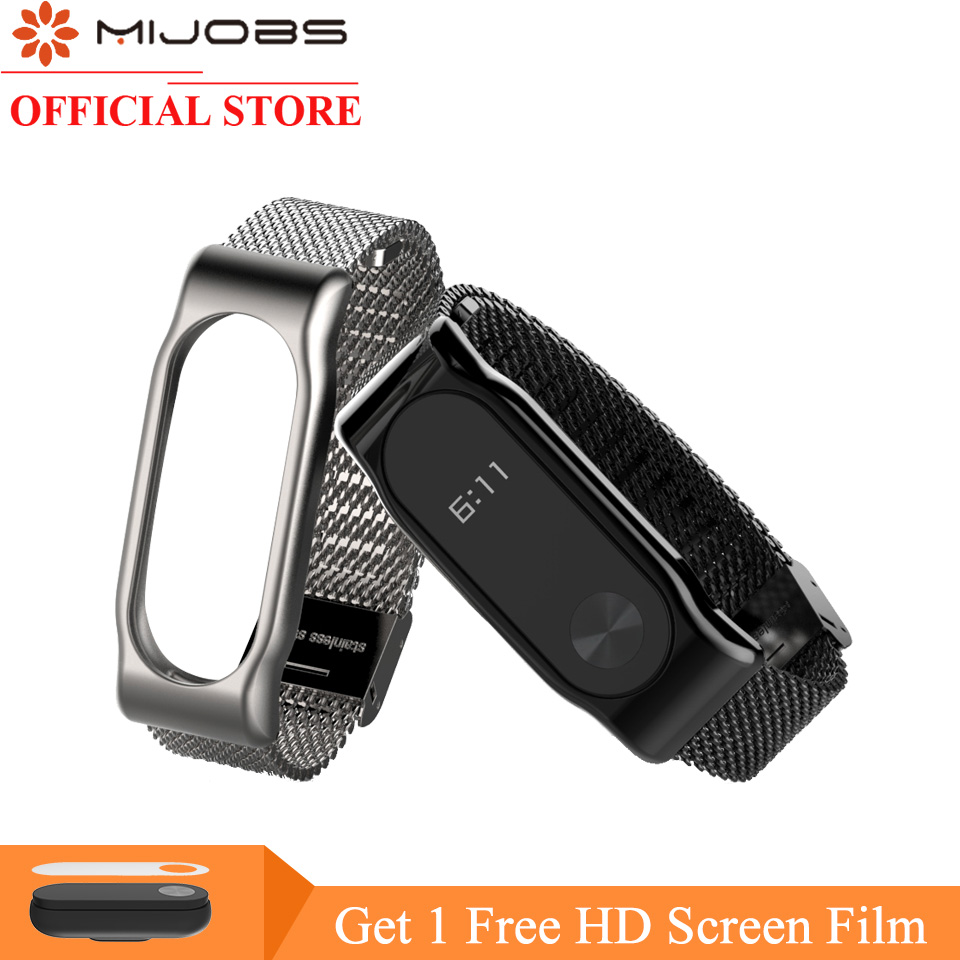 Mijobs Milanese Metal Strap For Xiaomi Mi Band 2 Smart Watch Screwless Stainless Steel Bracelet Miband 2 Strap Wristbands