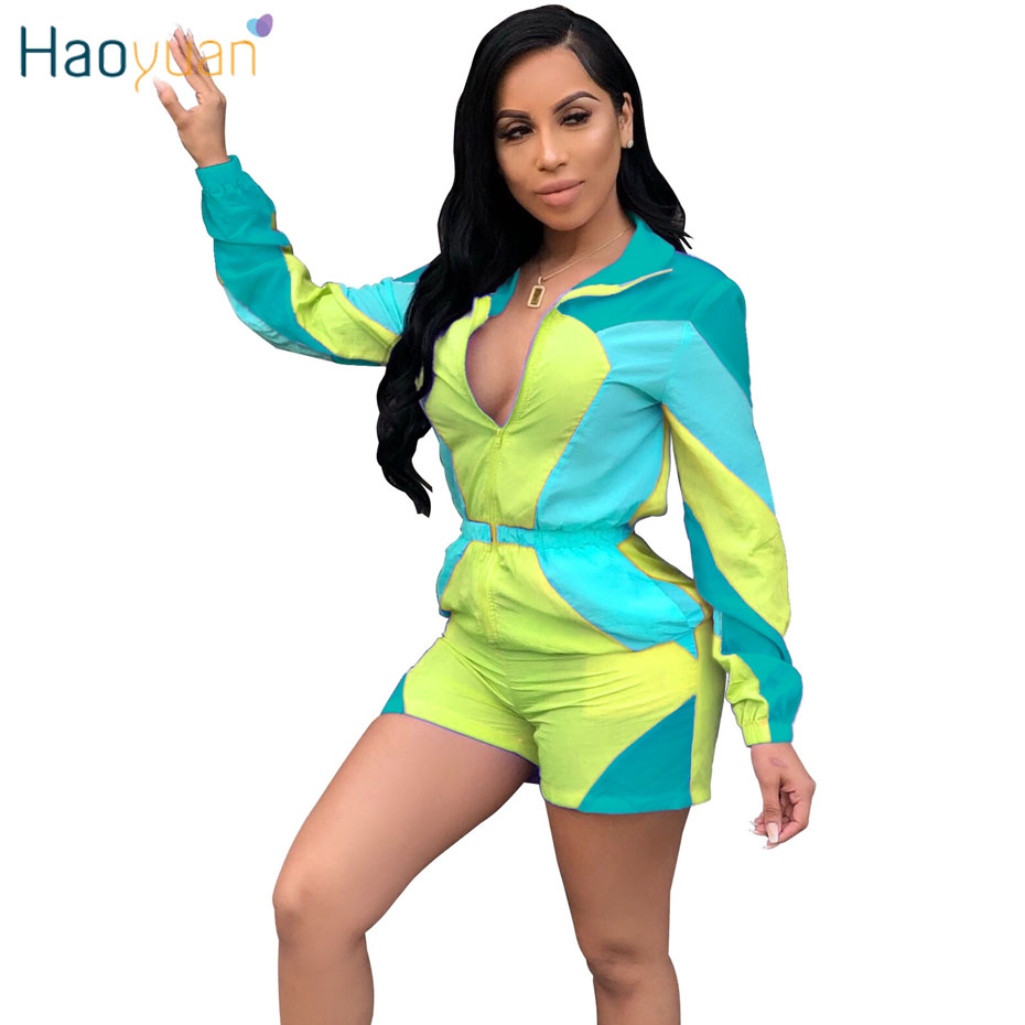 HAOYUAN Sunscreen Casual Loose Short   Jumpsuit   Women Body Front Zip Summer Overalls Plus Size Long Sleeve Shorts Rompers Playsuit