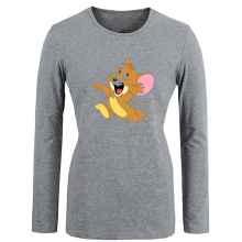 Cartoon Tom and Jerry escape snicker Funny T Shirt Women Long T-shirt Spring Autumn Girls Tshirt Holiday Gift Tops Plus Size S-XXL