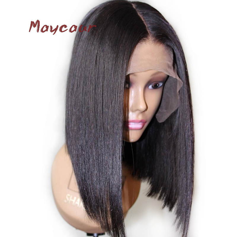 Bob Synthetic Lace Front Wig With Natural Hairline Heat Resistant Short Straight Wigs For Women 180 Density 14-16 inch(China)