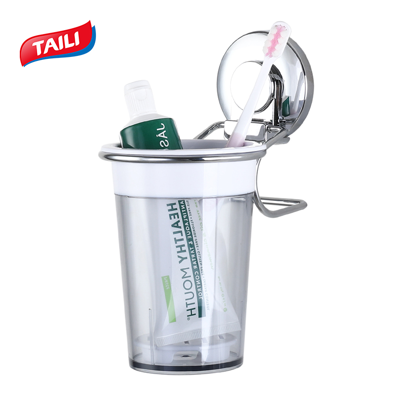 Bathroom Plastic Suction Cup Toothbrush Holder Bathroom Decor Accessories Tooth Paste Holder Set Brush Cup Storage Organizer