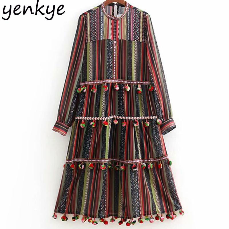 European Style Women Pompoms Trims Ethnic Vintage Striped Dress Lady O Neck Long Sleeve A line Midi Dress Chiffon Autumn vestido